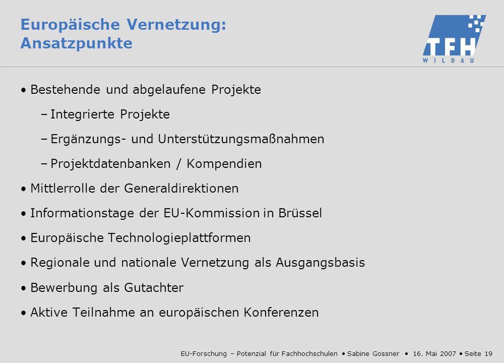 Europäische Vernetzung: Ansatzpunkte
