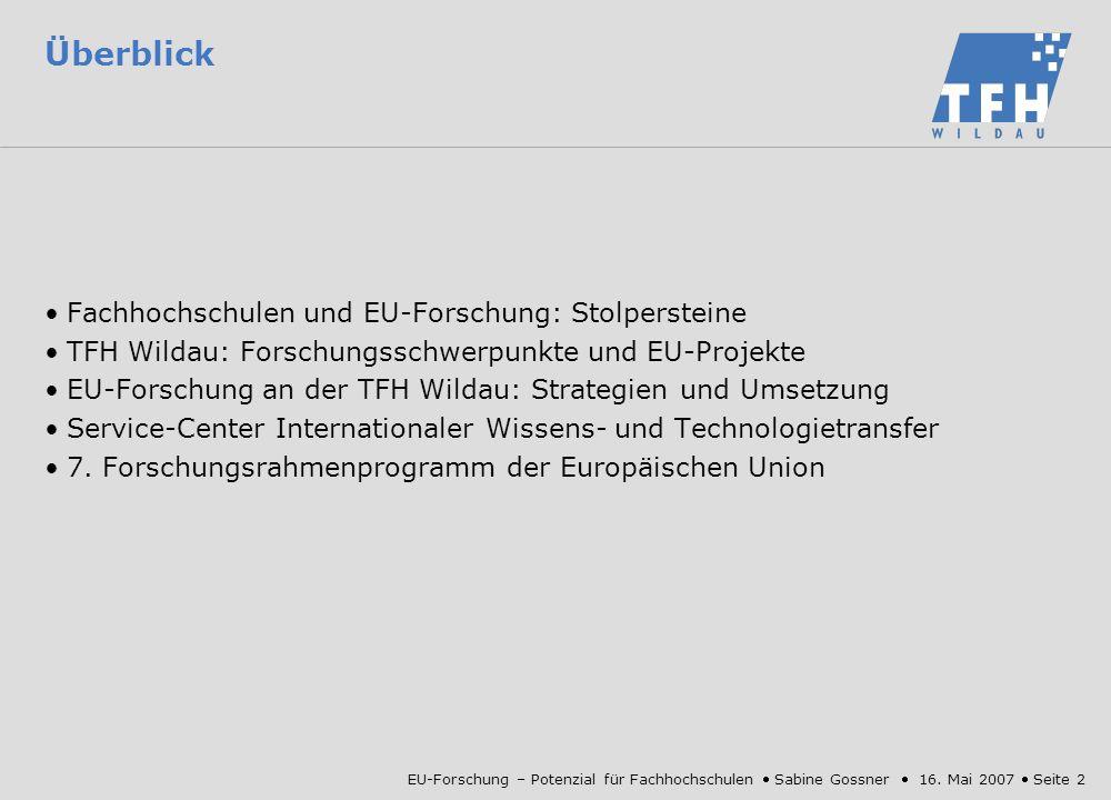 Überblick Fachhochschulen und EU-Forschung: Stolpersteine