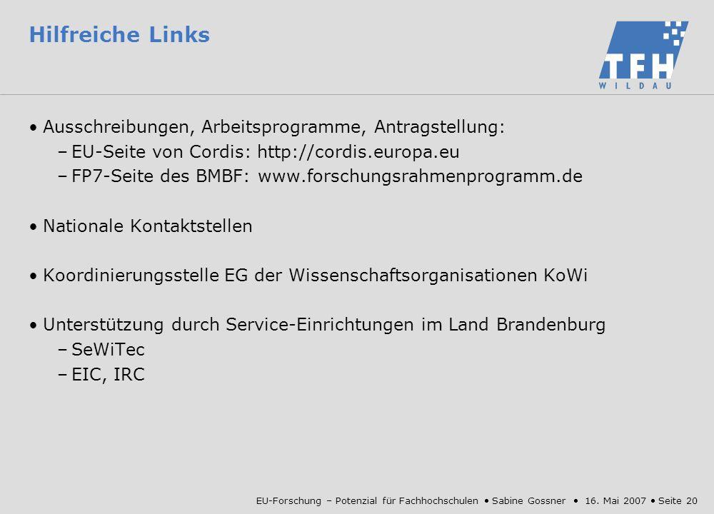 Hilfreiche Links Ausschreibungen, Arbeitsprogramme, Antragstellung: