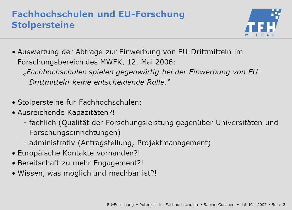 Fachhochschulen und EU-Forschung Stolpersteine