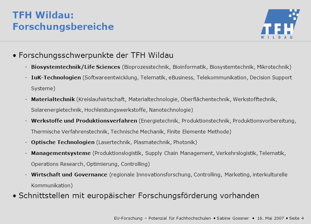 TFH Wildau: Forschungsbereiche