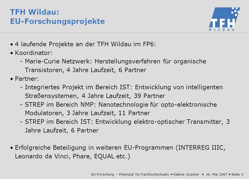TFH Wildau: EU-Forschungsprojekte