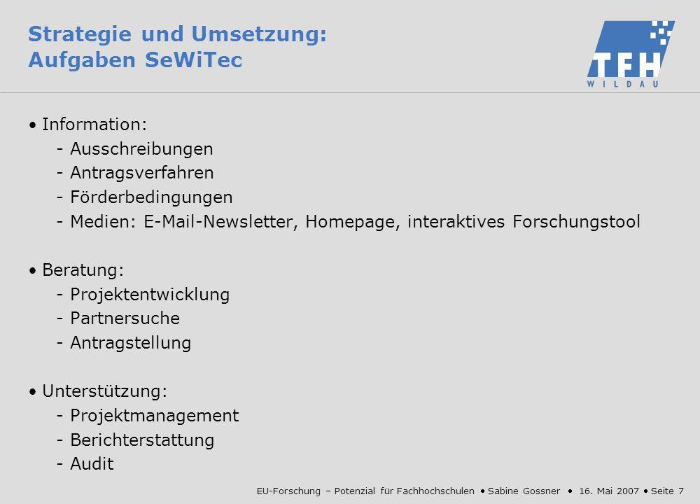 Strategie und Umsetzung: Aufgaben SeWiTec