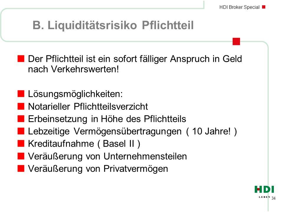 B. Liquiditätsrisiko Pflichtteil