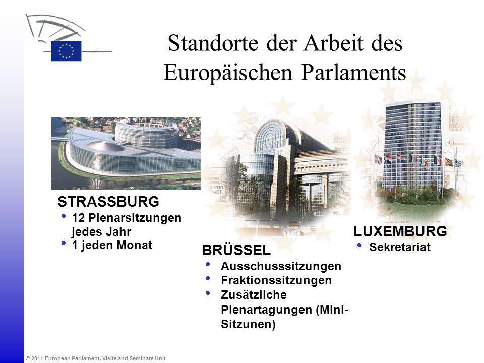 Standorte der Arbeit des Europäischen Parlaments