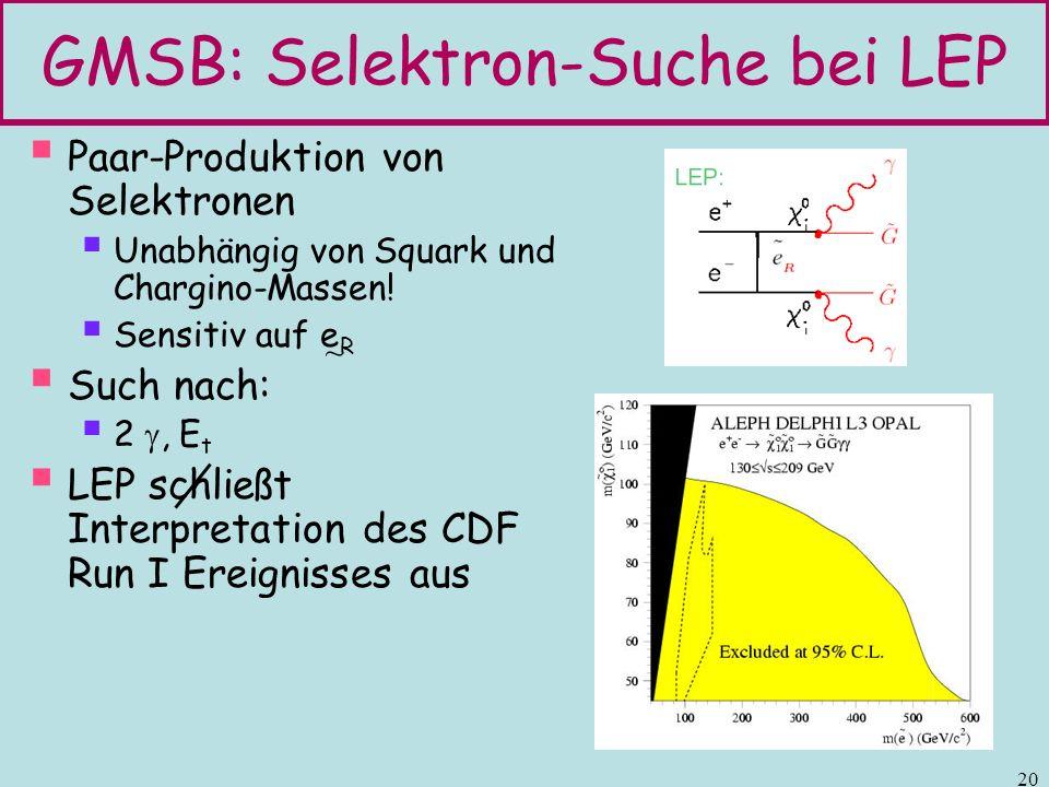 GMSB: Selektron-Suche bei LEP