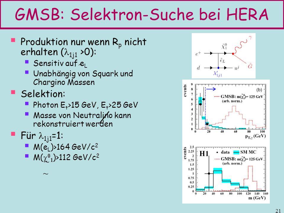 GMSB: Selektron-Suche bei HERA