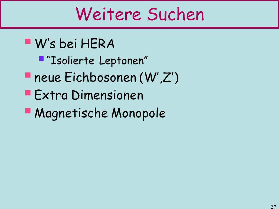 Weitere Suchen W's bei HERA neue Eichbosonen (W',Z') Extra Dimensionen