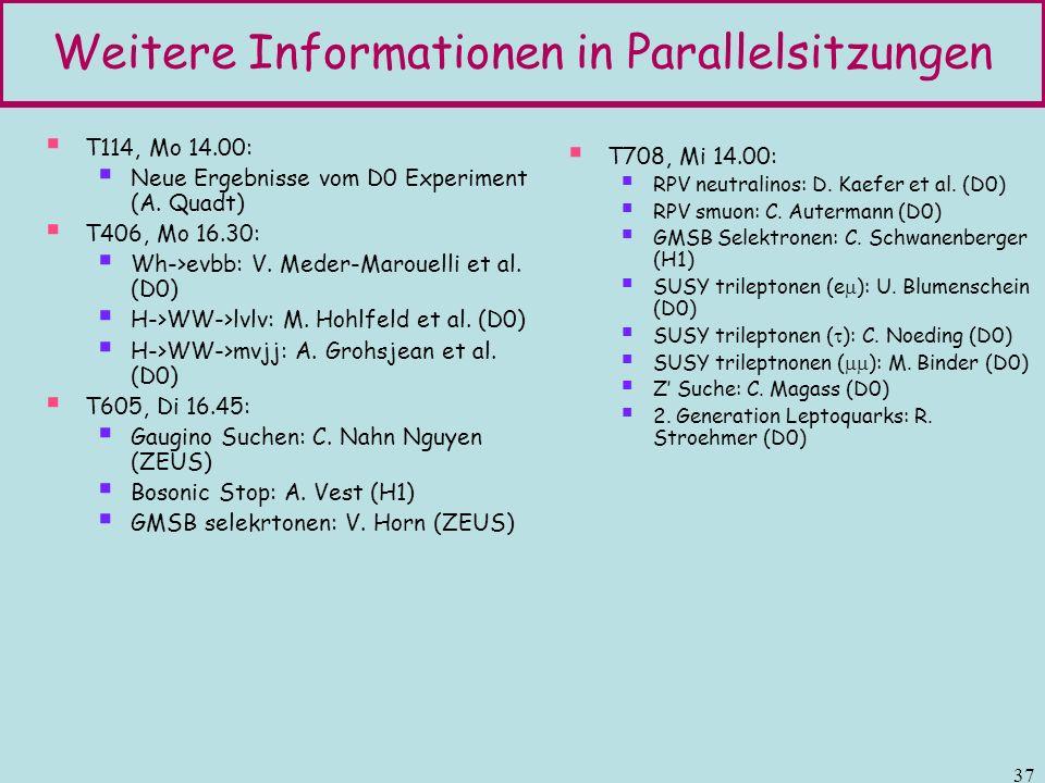 Weitere Informationen in Parallelsitzungen
