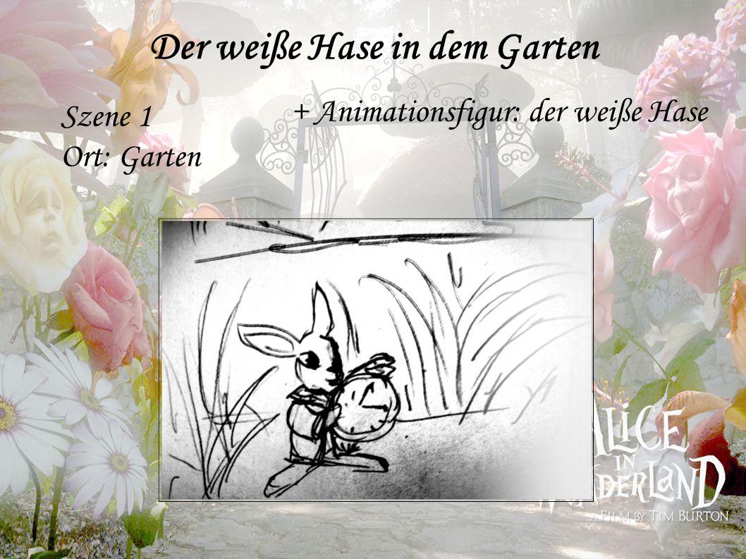 Der weiße Hase in dem Garten