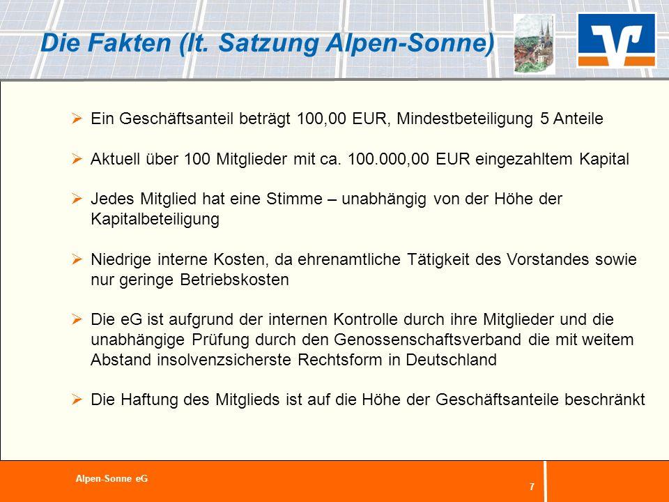 Die Fakten (lt. Satzung Alpen-Sonne)