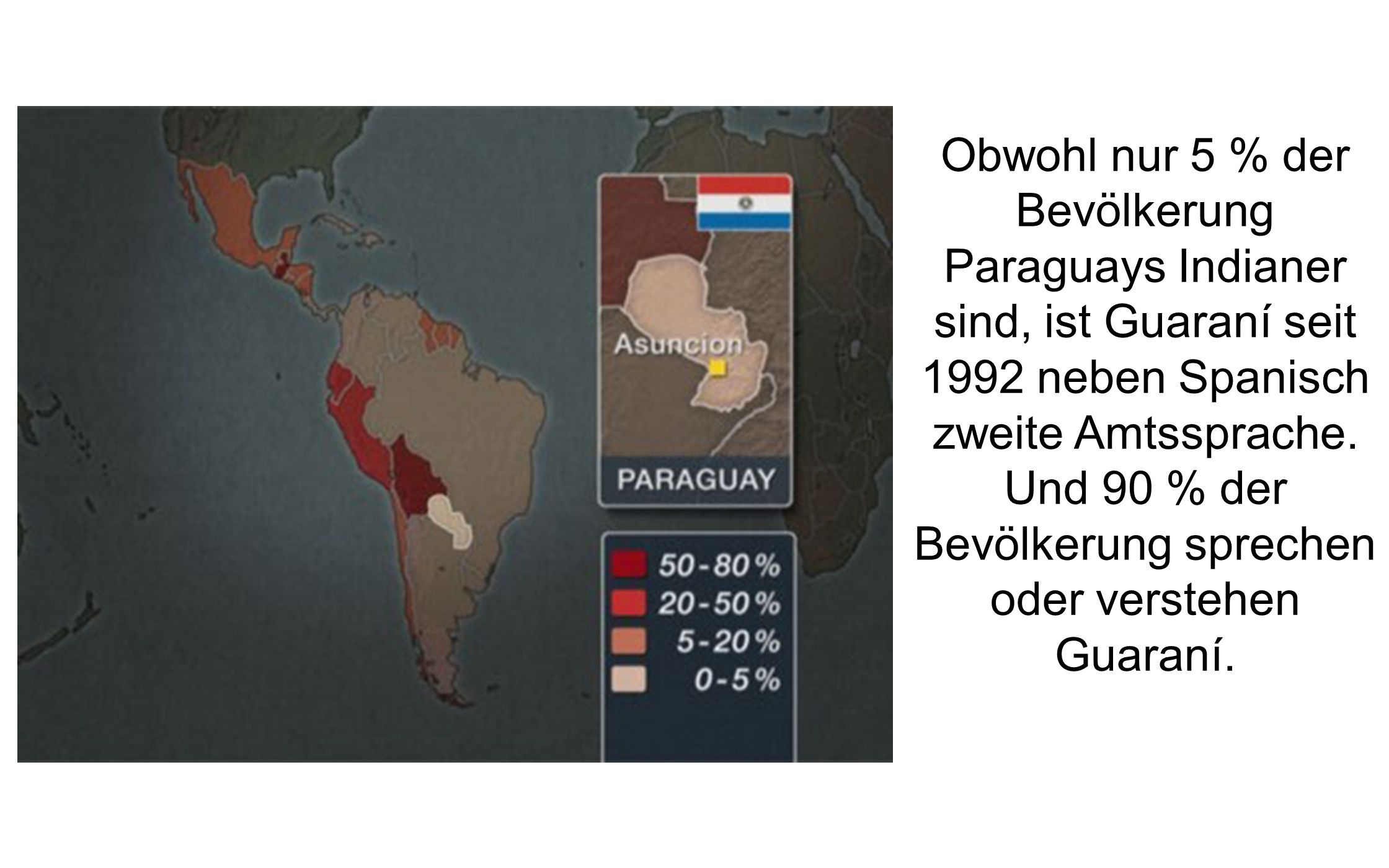 Obwohl nur 5 % der Bevölkerung Paraguays Indianer sind, ist Guaraní seit 1992 neben Spanisch zweite Amtssprache.