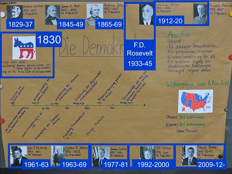 1912-20 1829-37. 1845-49. 1865-69. 1830. F.D. Rosevelt. 1933-45. 1961-63. 1963-69. 1977-81.