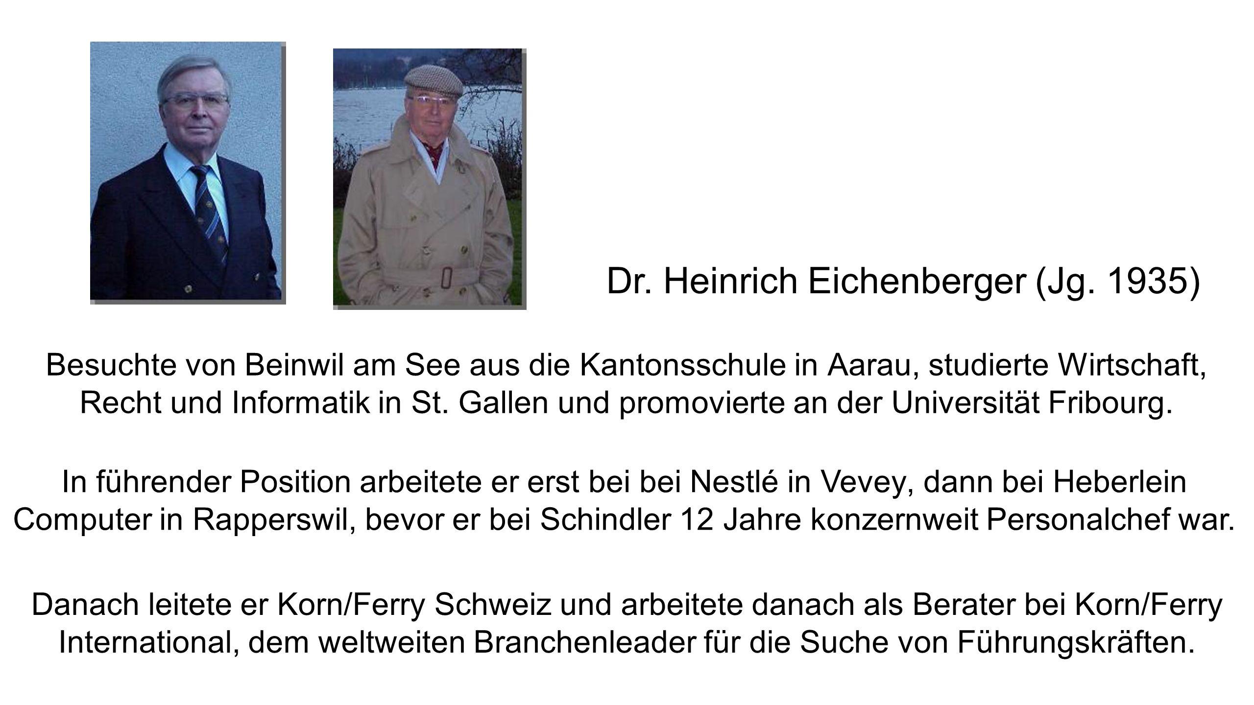 Dr. Heinrich Eichenberger (Jg. 1935)