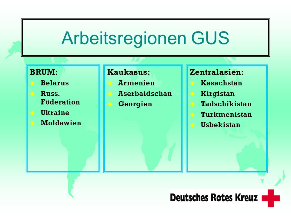 Arbeitsregionen GUS BRUM: Kaukasus: Zentralasien: Belarus