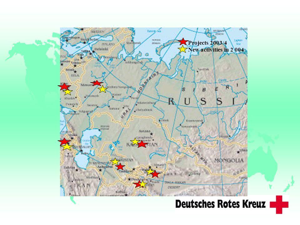Projects 2003/4 New activities in 2 004 Kriege/Bürgerkriege