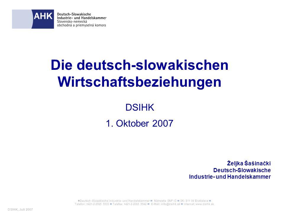 Die deutsch-slowakischen Wirtschaftsbeziehungen