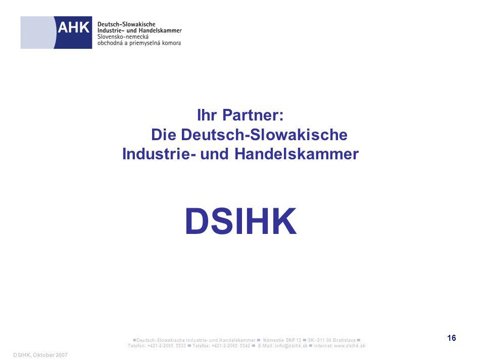 Die Deutsch-Slowakische Industrie- und Handelskammer