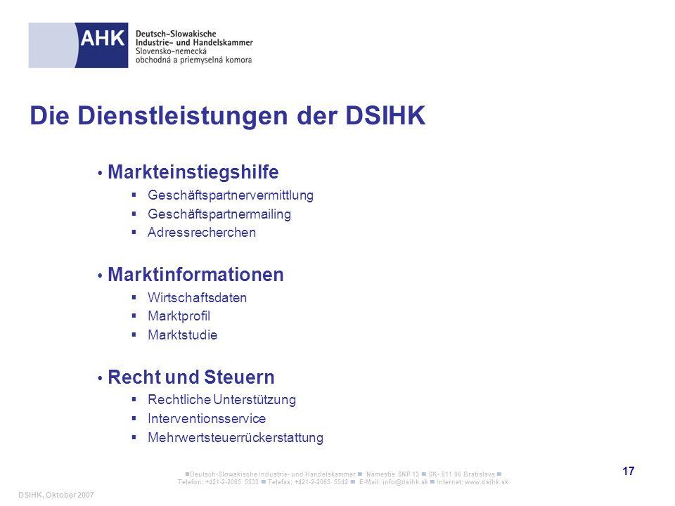 Die Dienstleistungen der DSIHK