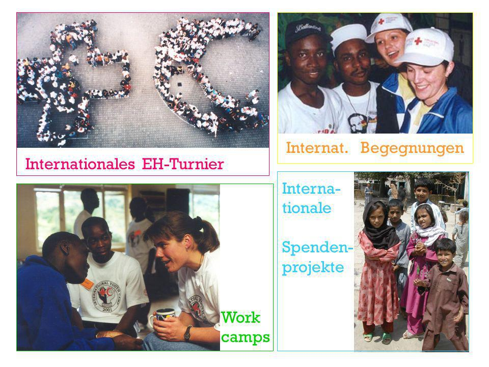 Internat. Begegnungen Internationales EH-Turnier Interna- tionale Spenden- projekte Work camps