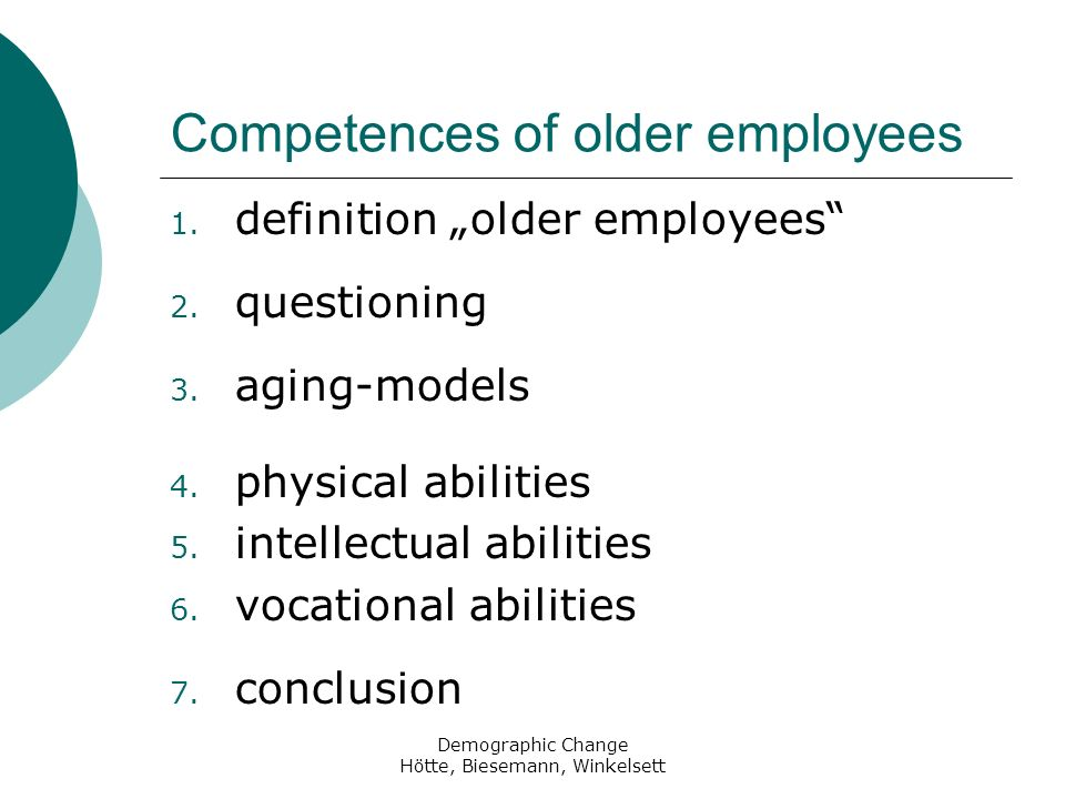 Competences of older employees