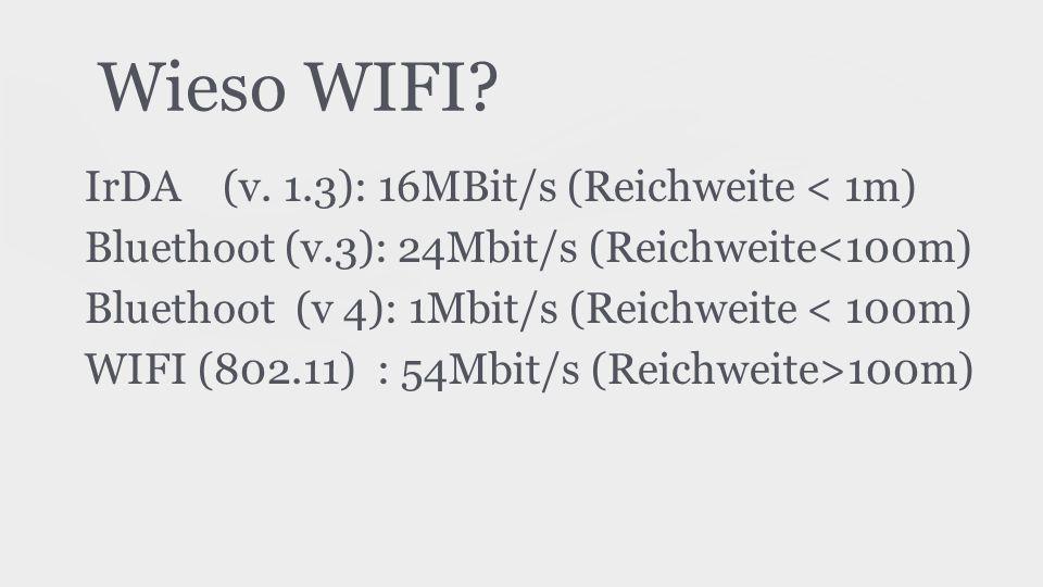 Wieso WIFI IrDA (v. 1.3): 16MBit/s (Reichweite < 1m)
