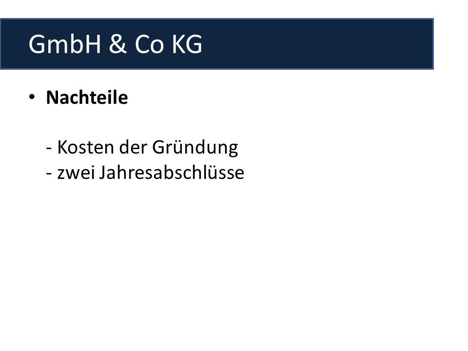 GmbH & Co KG Nachteile - Kosten der Gründung - zwei Jahresabschlüsse