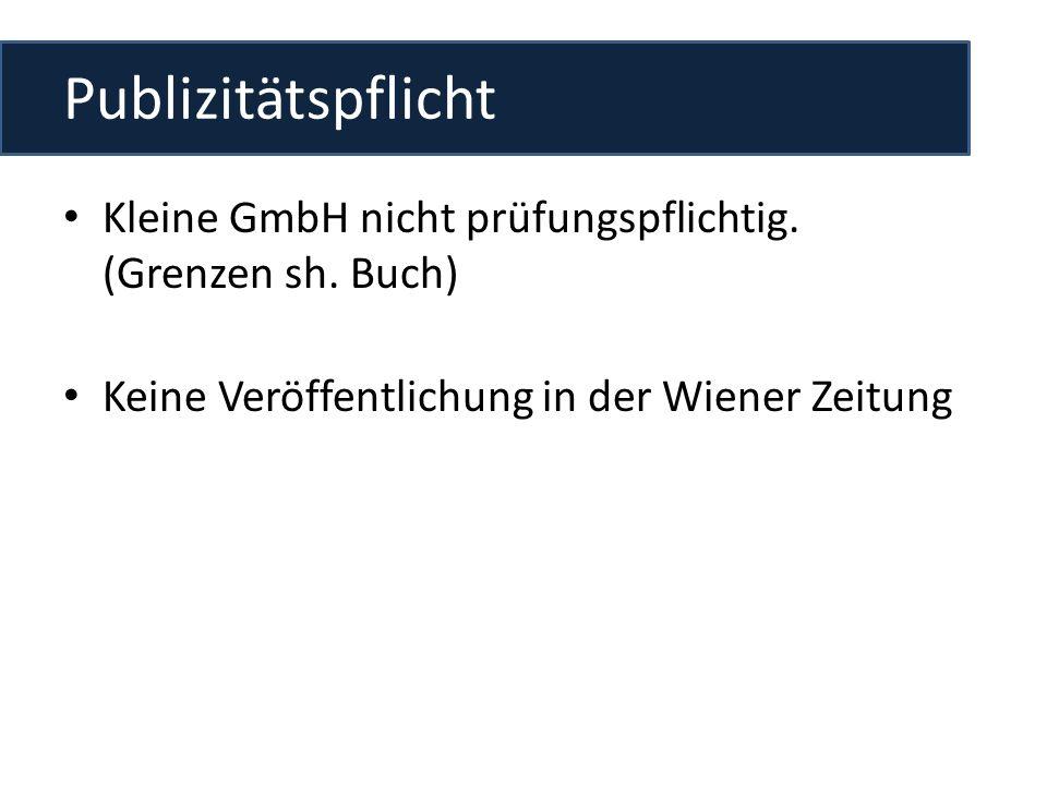 Publizitätspflicht Kleine GmbH nicht prüfungspflichtig.