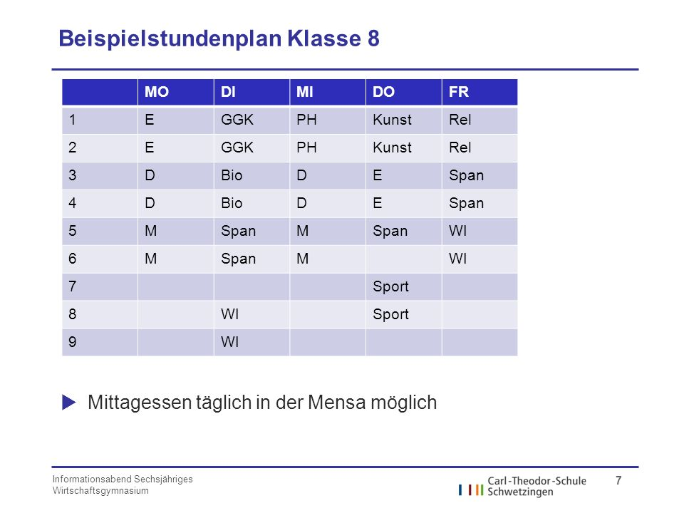 Beispielstundenplan Klasse 8