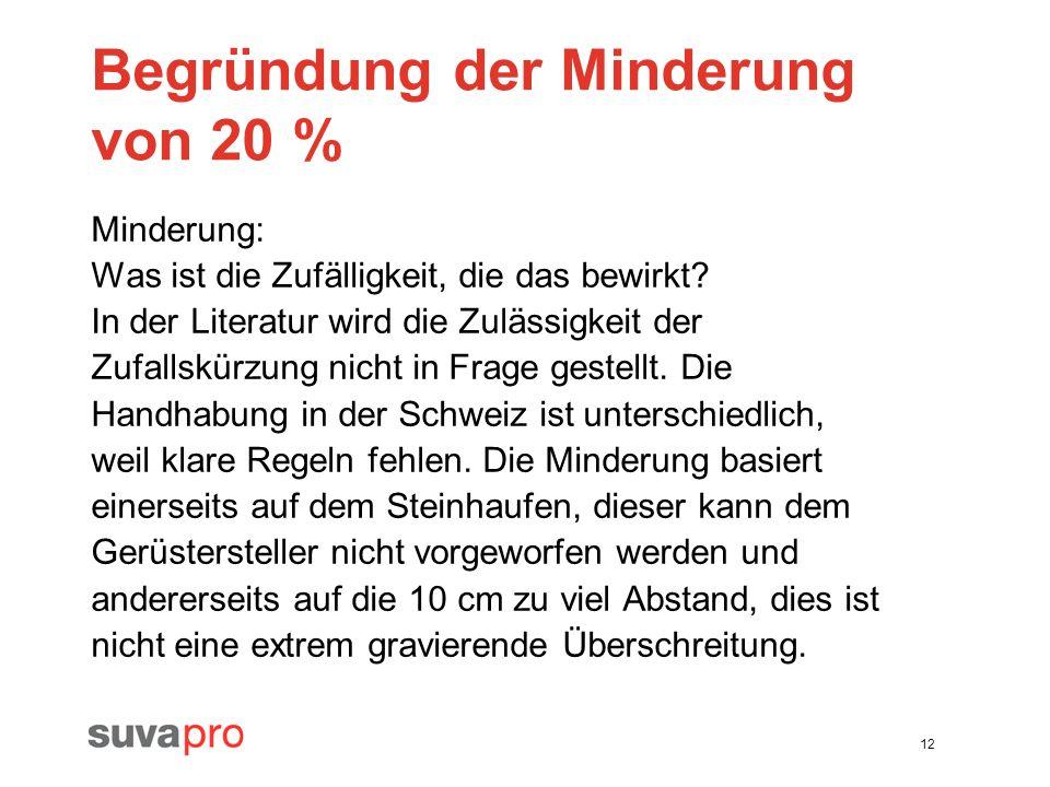 Begründung der Minderung von 20 %