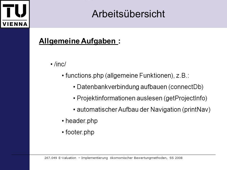Arbeitsübersicht Allgemeine Aufgaben : /inc/