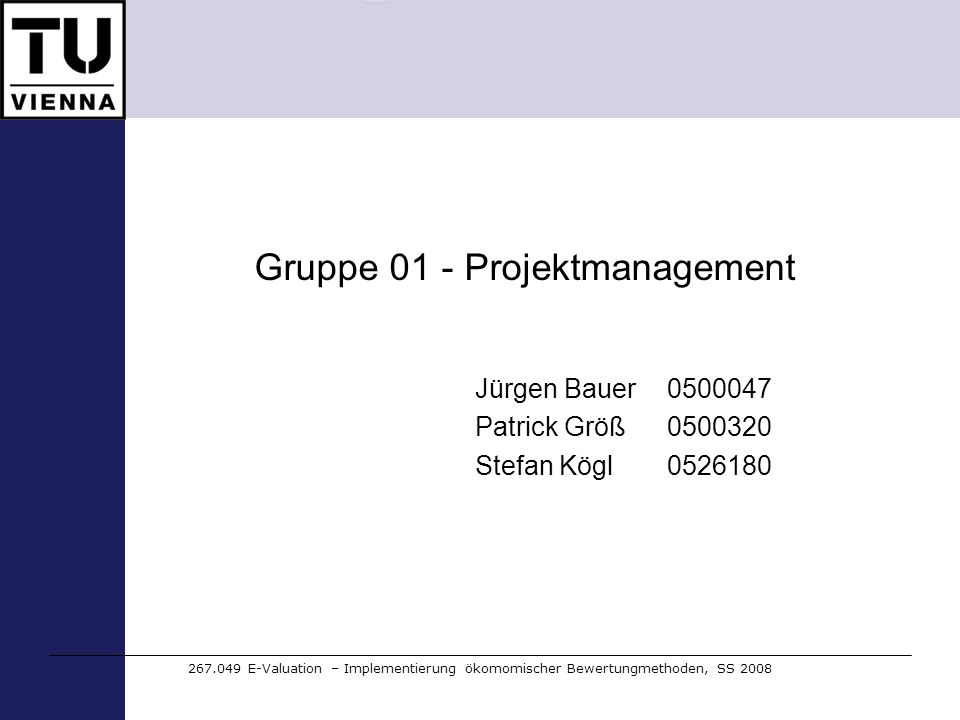 Gruppe 01 - Projektmanagement