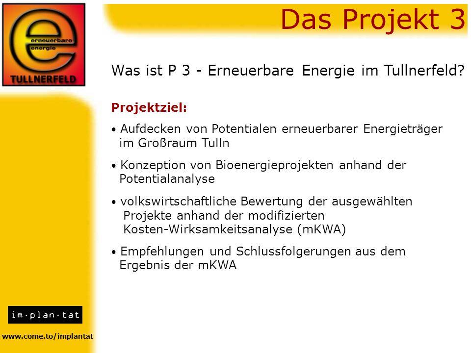 Das Projekt 3 Was ist P 3 - Erneuerbare Energie im Tullnerfeld