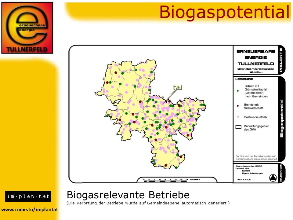 Biogaspotential Biogasrelevante Betriebe www.come.to/implantat