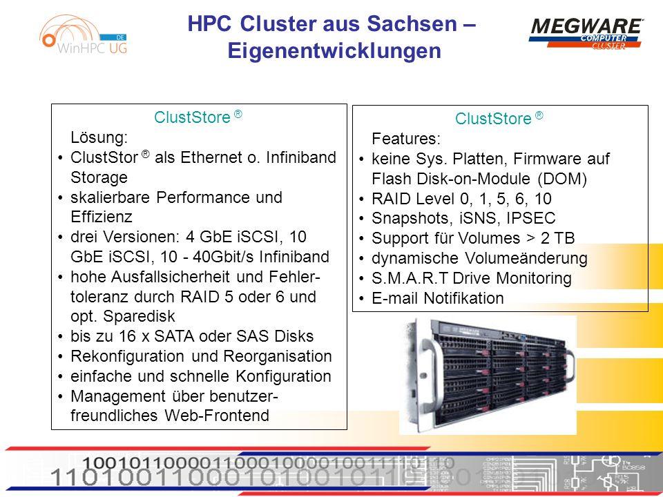 ClustStore ® Lösung: ClustStor ® als Ethernet o. Infiniband Storage. skalierbare Performance und Effizienz.