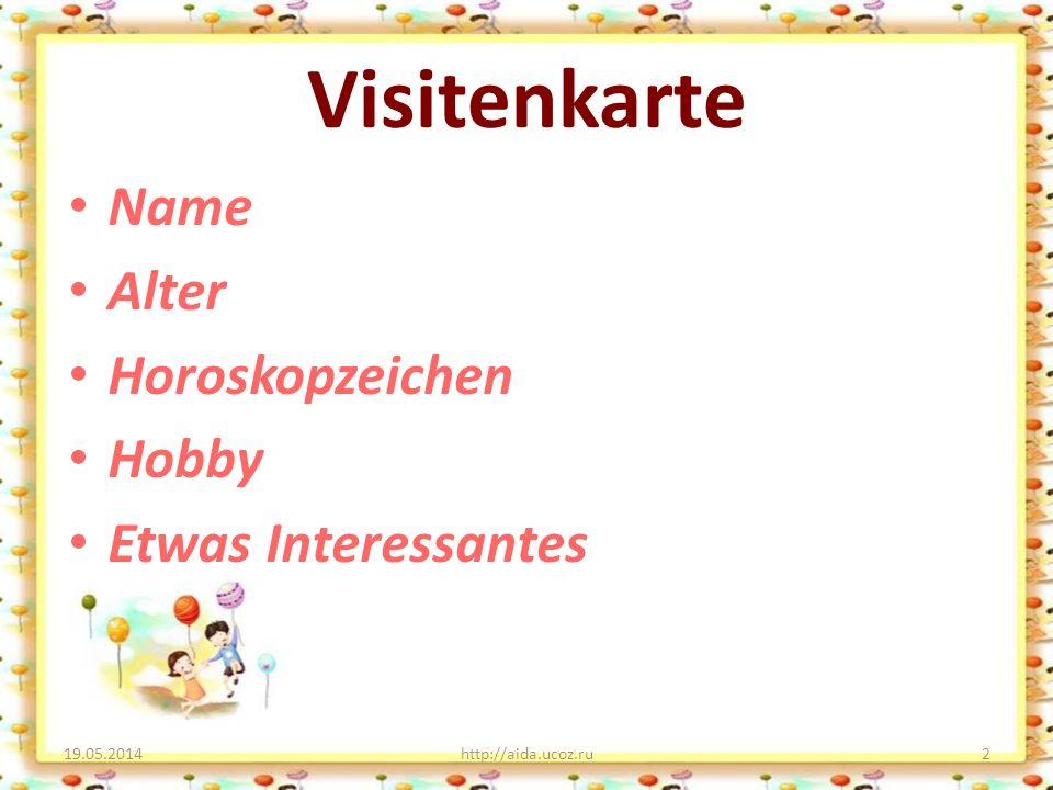 Visitenkarte Name Alter Horoskopzeichen Hobby Etwas Interessantes