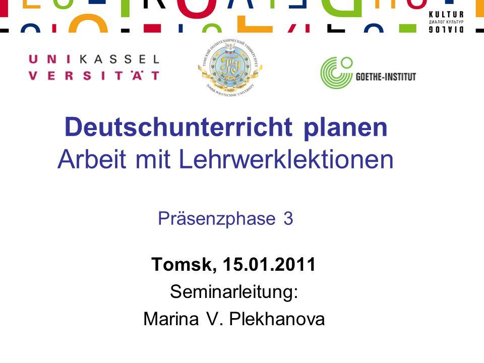 Deutschunterricht planen Arbeit mit Lehrwerklektionen Präsenzphase 3
