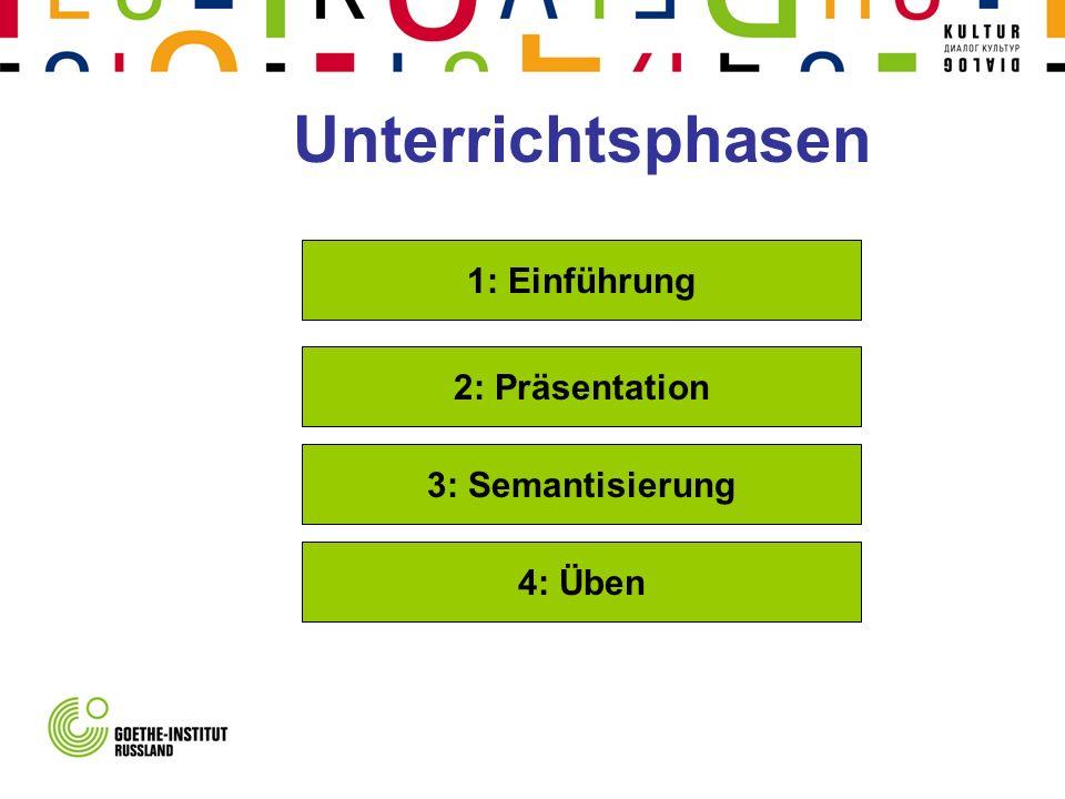 Unterrichtsphasen 1: Einführung 2: Präsentation 3: Semantisierung