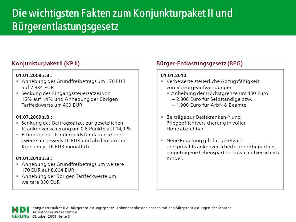 Die wichtigsten Fakten zum Konjunkturpaket II und Bürgerentlastungsgesetz