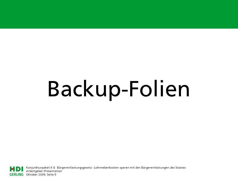 Backup-Folien Konjunkturpaket II & Bürgerentlastungsgesetz - Lohnnebenkosten sparen mit den Bürgerentlastungen des Staates.