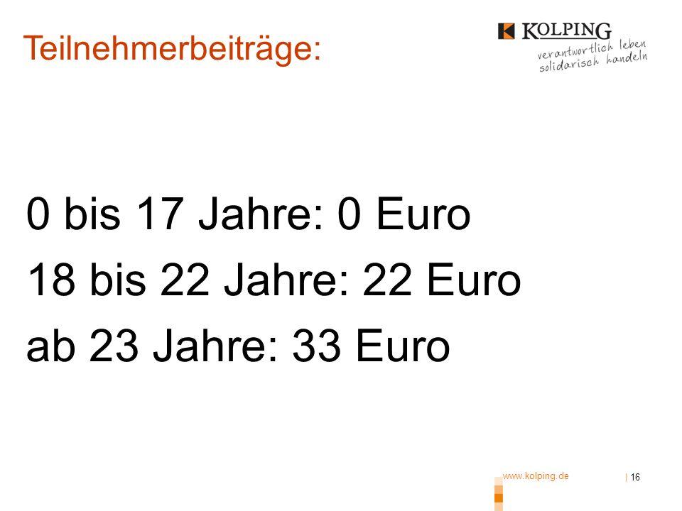 0 bis 17 Jahre: 0 Euro 18 bis 22 Jahre: 22 Euro ab 23 Jahre: 33 Euro