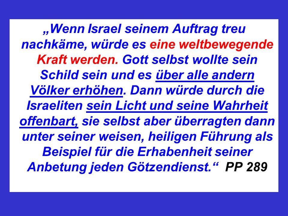 """""""Wenn Israel seinem Auftrag treu nachkäme, würde es eine weltbewegende Kraft werden."""