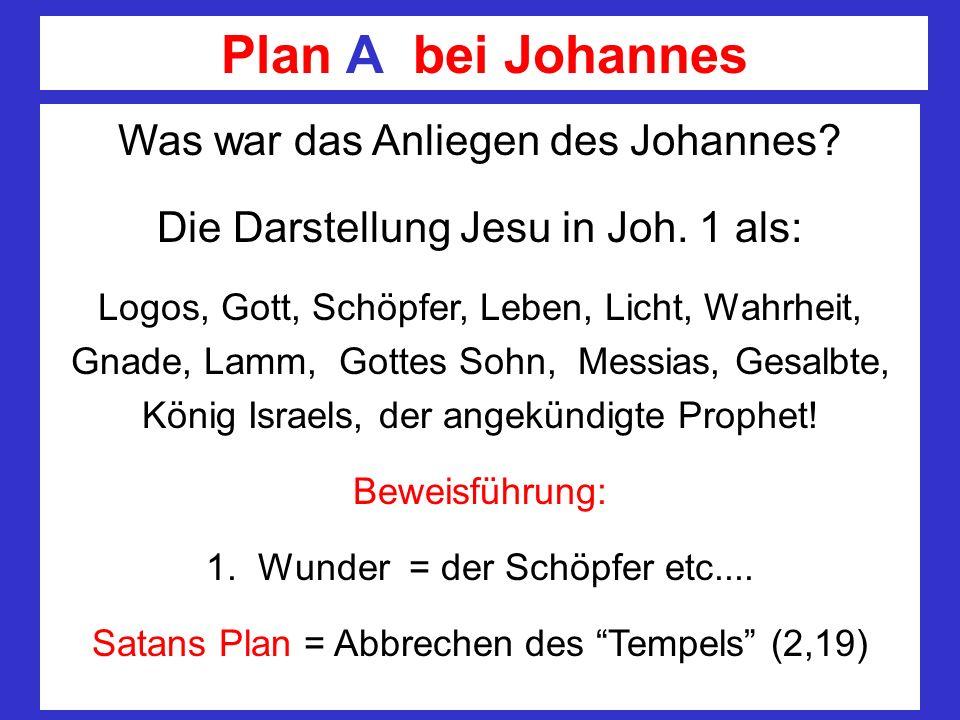 Plan A bei Johannes Was war das Anliegen des Johannes