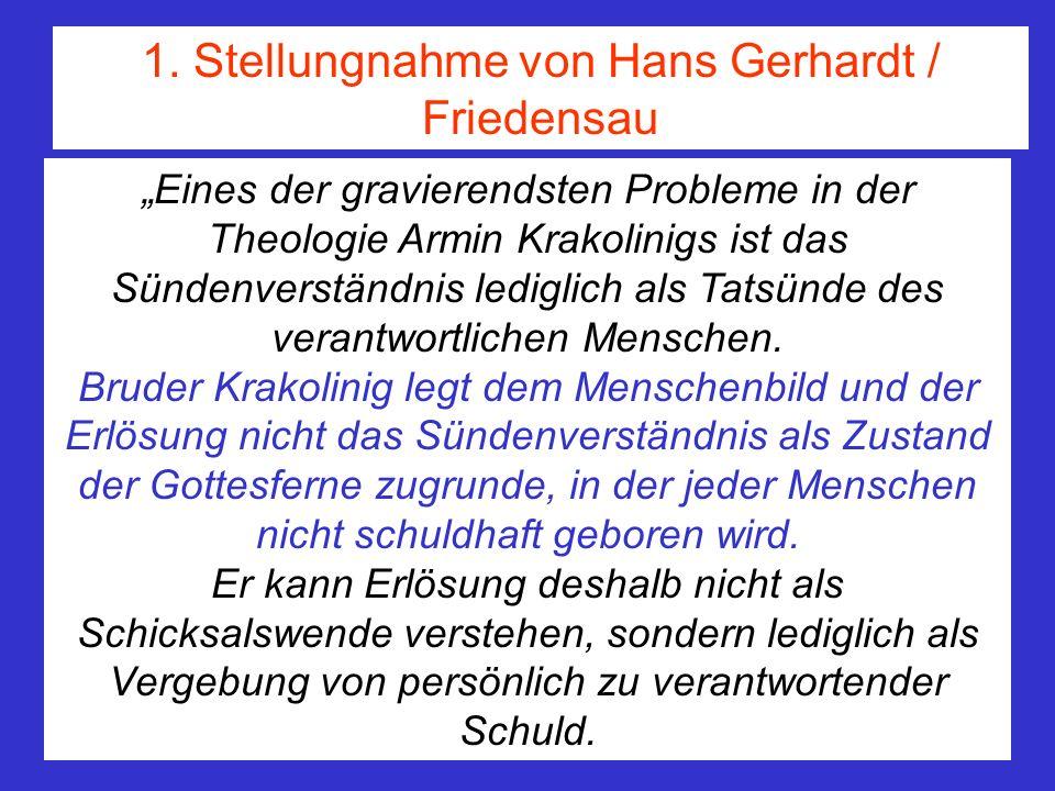 1. Stellungnahme von Hans Gerhardt / Friedensau