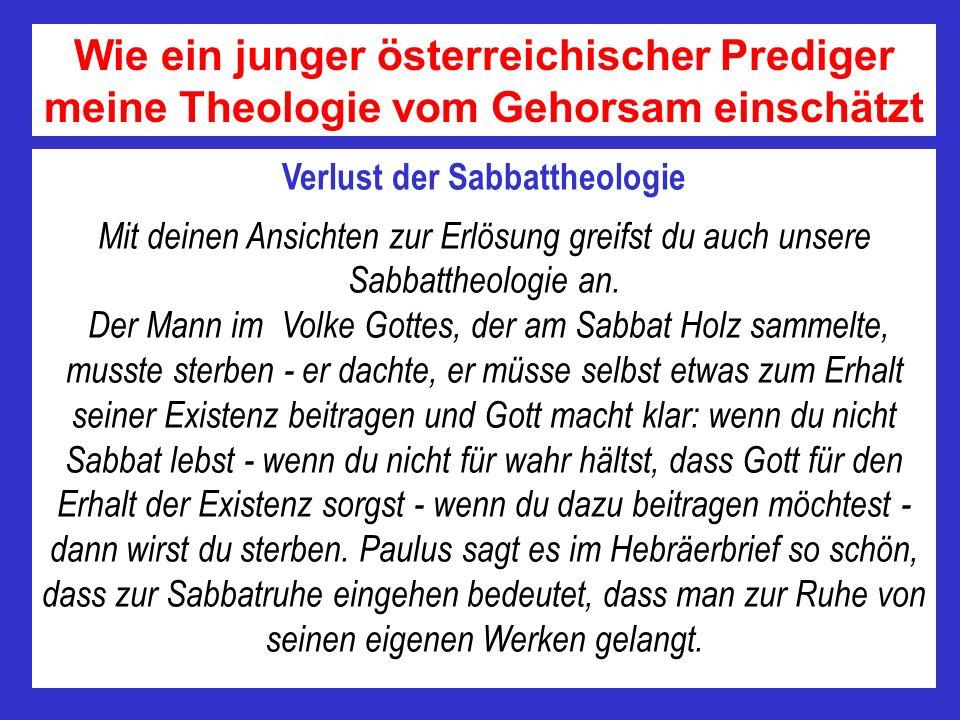 Verlust der Sabbattheologie