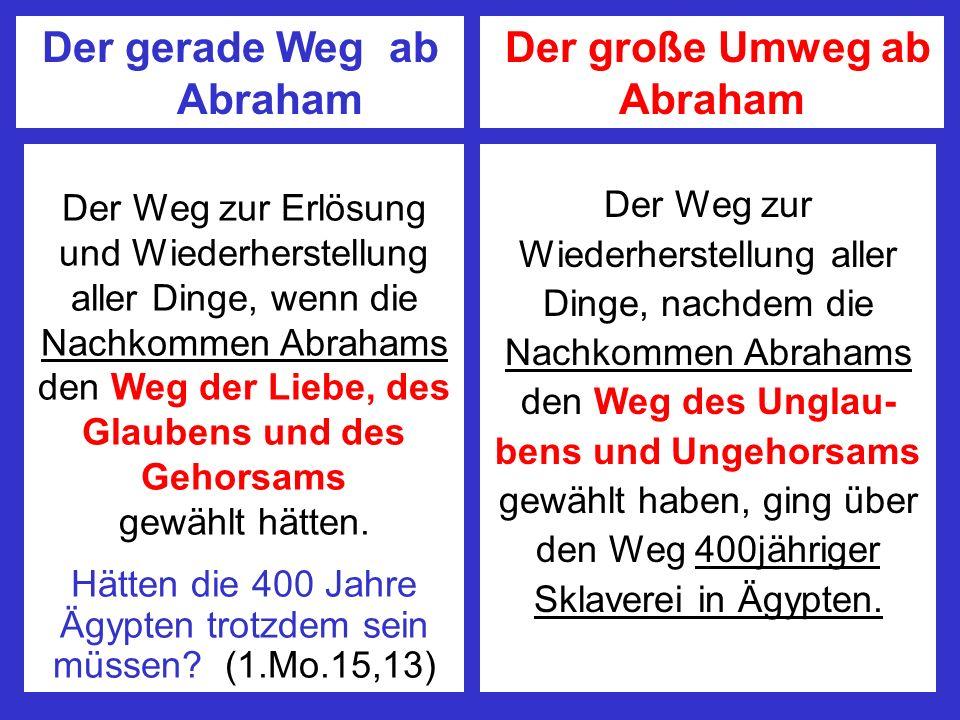 Der gerade Weg ab Abraham Der große Umweg ab Abraham