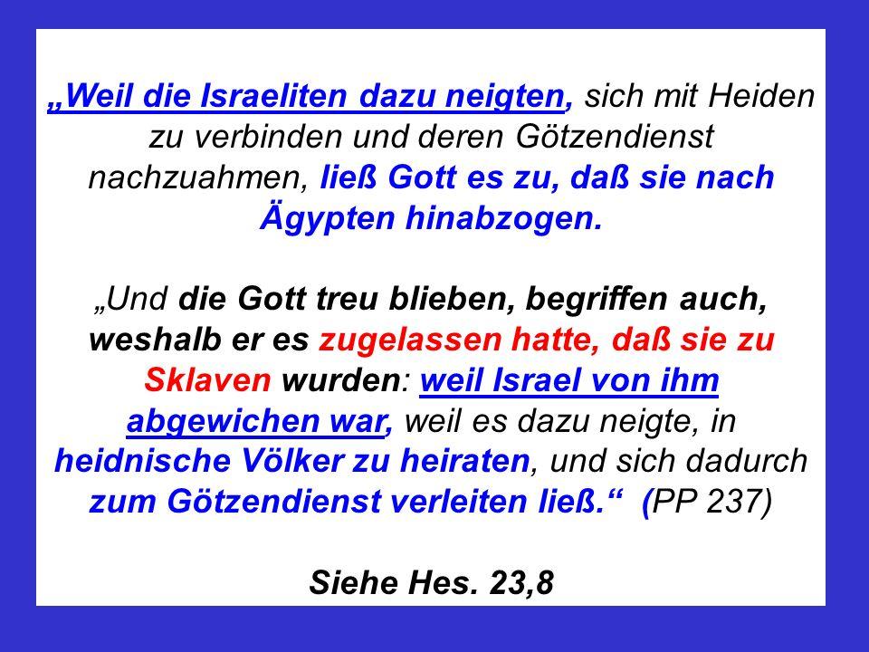 """""""Weil die Israeliten dazu neigten, sich mit Heiden zu verbinden und deren Götzendienst nachzuahmen, ließ Gott es zu, daß sie nach Ägypten hinabzogen."""