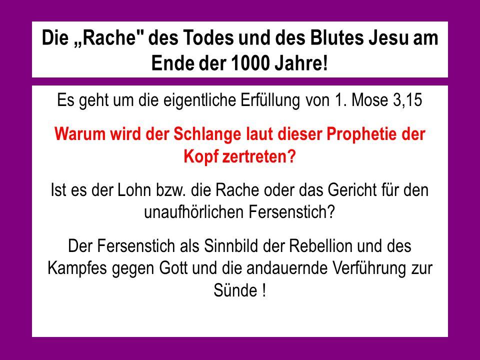 """Die """"Rache des Todes und des Blutes Jesu am Ende der 1000 Jahre!"""