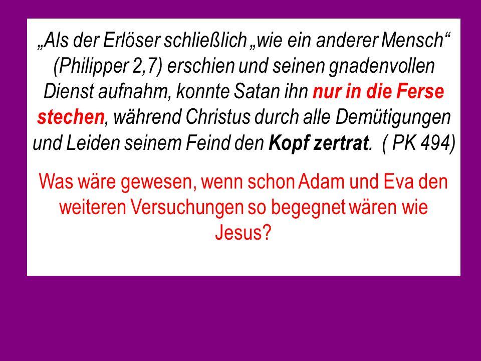 """""""Als der Erlöser schließlich """"wie ein anderer Mensch (Philipper 2,7) erschien und seinen gnadenvollen Dienst aufnahm, konnte Satan ihn nur in die Ferse stechen, während Christus durch alle Demütigungen und Leiden seinem Feind den Kopf zertrat. ( PK 494)"""