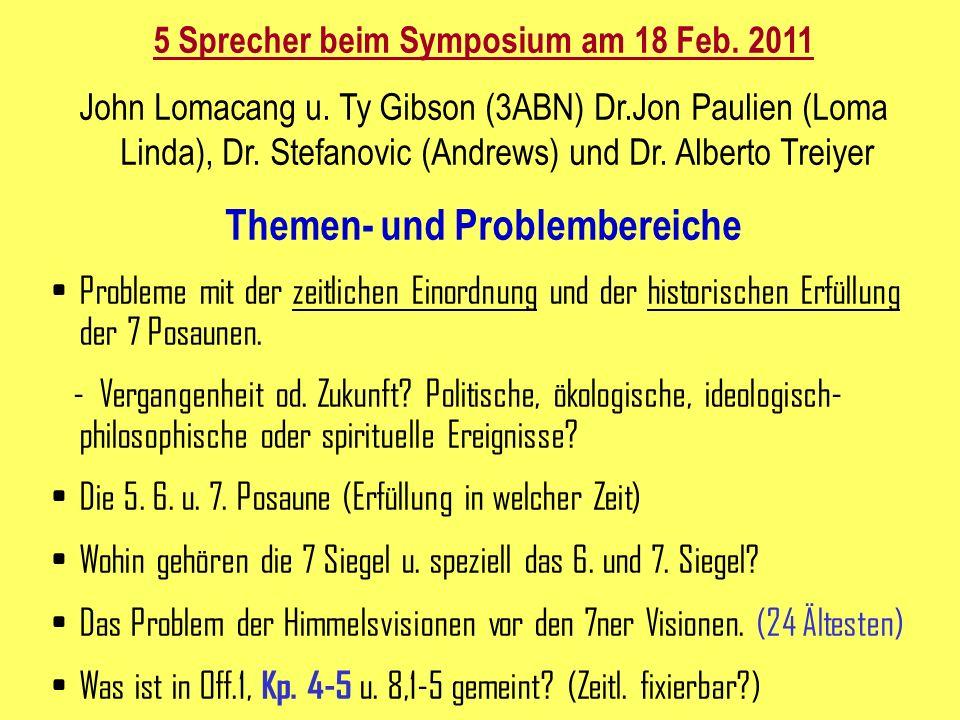 5 Sprecher beim Symposium am 18 Feb. 2011 Themen- und Problembereiche